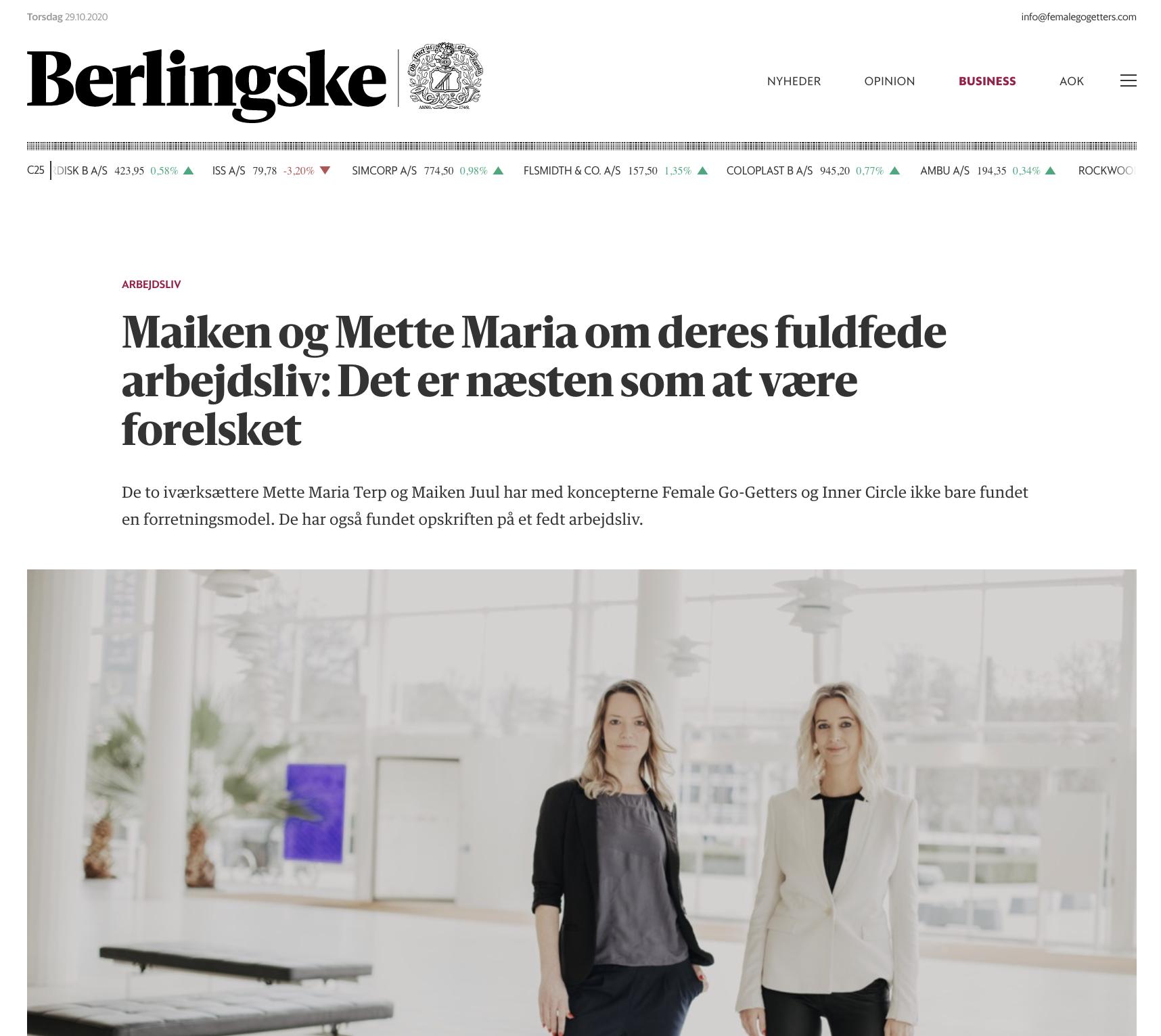 Female Go-Getter netværk for kvindelige iværksættere ved Mette Maria og Maiken Juul